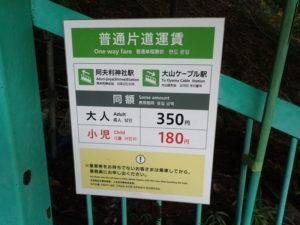 丹沢 ケーブルカー 大山寺駅 運賃