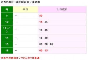 オカピノ丘・ぱかぱかのりば経由 時刻表