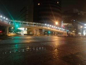 台風19号:環状2号、プリンスホテル前