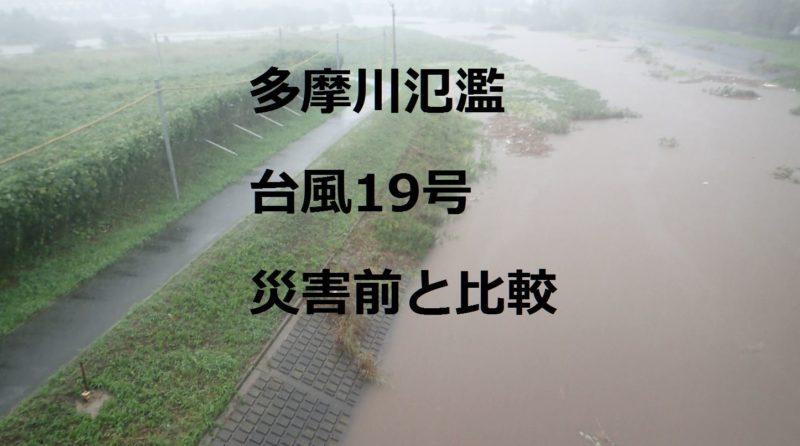 多摩川氾濫、台風19号2019年10月12日、災害前と比較、スーパー堤防