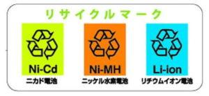 二カド電池:ニッケル水素電池:リチウムイオン電池:マーク:リサイクルマーク