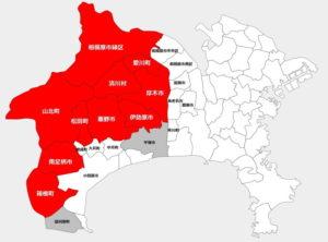 神奈川県:2019年度:クマ出没・目撃された地域エリア